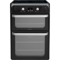 Hotpoint 60cm Double oven Electric Cooker - HUI612K