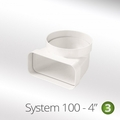 Luxair 100mm Vertical Bend 90° Round To Rectangular - 100-RND-RECT-ELBOW