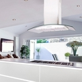 Luxair 70cm Curved Glass Island Hood - LA-70-CVD-ISL-WHT